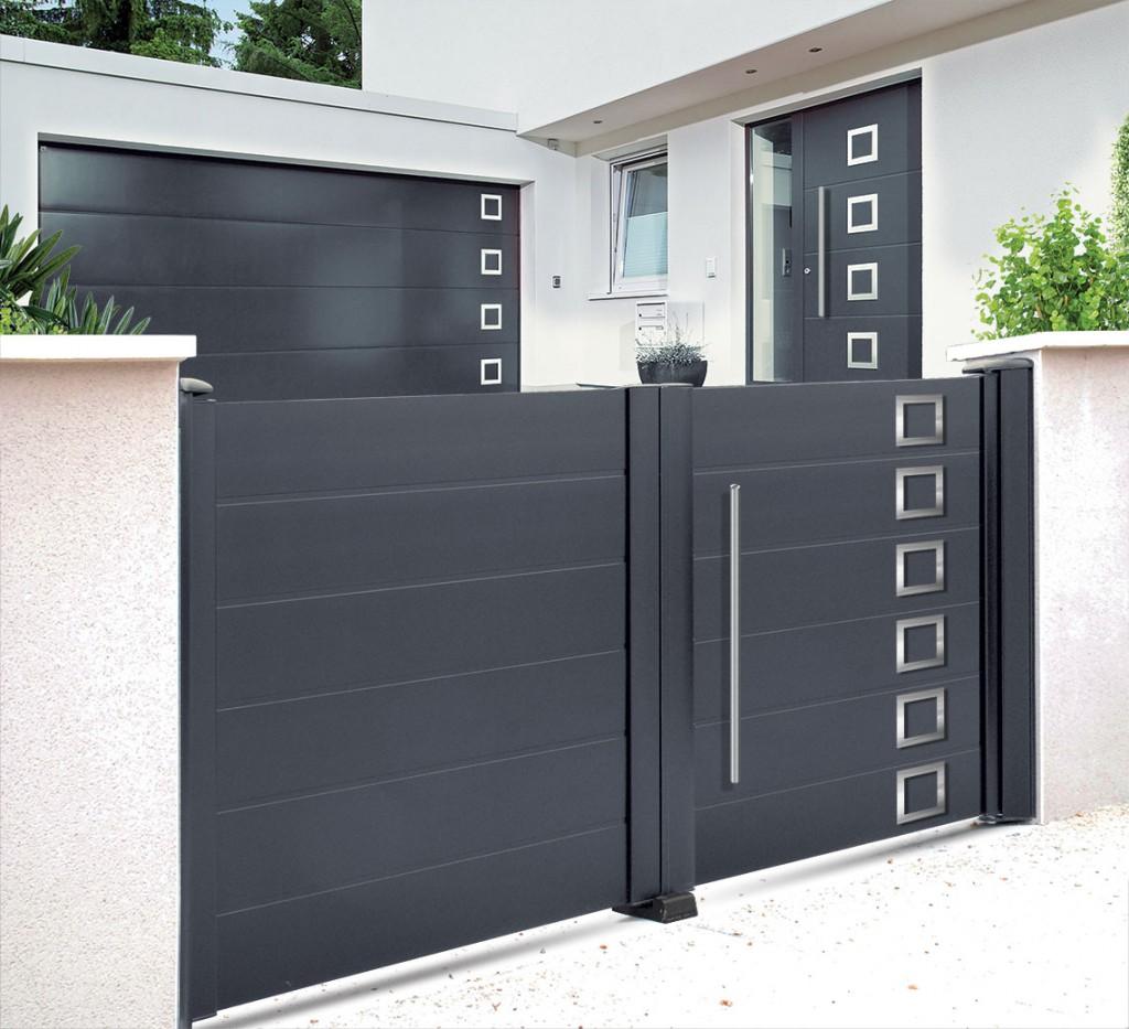 Portails acier lyon portails aluminium lyon mions portail for Portail garage sur mesure